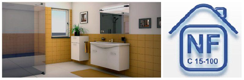 La norme nf c15 100 dans la salle de bain cap rea - Norme eclairage salle de bain ...